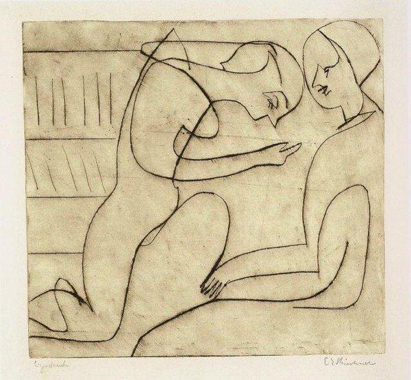 ernst ludwig kirchner 1930lovers in the bibliothek