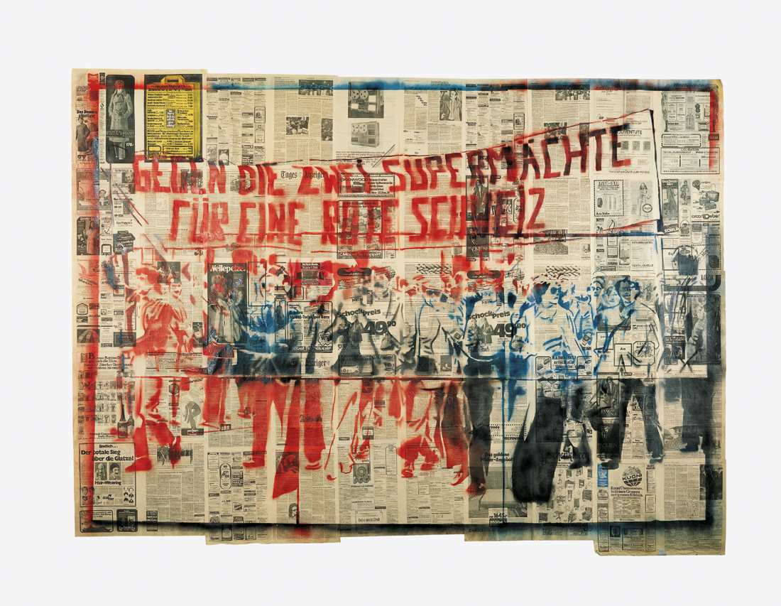Gegen die zwei Supermächte - für eine rote Schweiz (1ère version), 1976, Sigmar POLKE. © The Estate of Sigmar Polke, Cologne/ADAGP, Paris, 2016