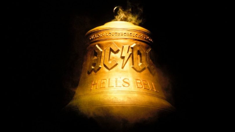"The ""Hells Bells"" bell on stage at an AC/DC concert."