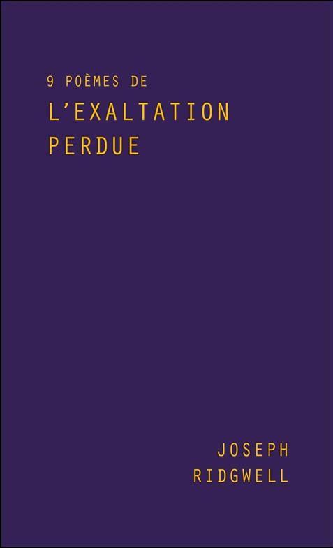 L'Angle Mort - Joseph Ridgwell - 9 poèmes de l'exaltation perdue